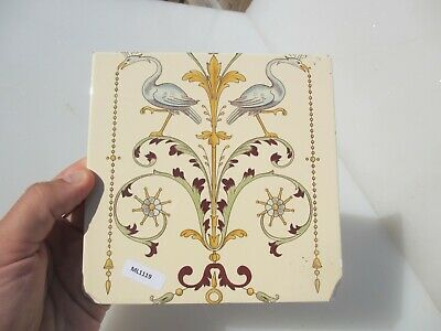 Vintage Ceramic Tile Architectural Floral Flower Leaf Art Nouveau Birds Husks