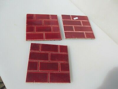 Antique Ceramic Tile Vintage Brick Effect Bricks Old Victorian Fireplace Tiles 3
