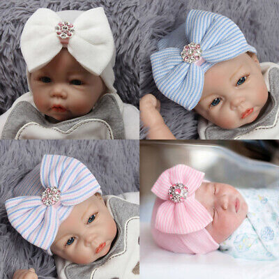 Baby Girls Newborn Infant Knitted Soft Hat with Chiffon Bow Tie Cap Striped Cute
