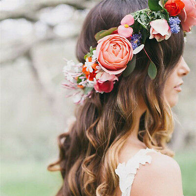 Boho Floral Flower Crown Headband Hair Garland Wedding Party Headpiece HGUK