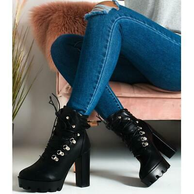 Womens Chunky Block High Heel Platform Ankle Boots Lace Up Black Clubbing Party