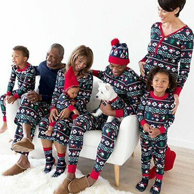 Family Matching Adult Kids Christmas Pyjamas Xmas Nightwear Pajamas PJs Sets