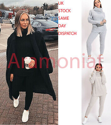 Women Ladies Chunky Cable Knitted Batwing Baggy Top Two Piece Skirt Loungewear