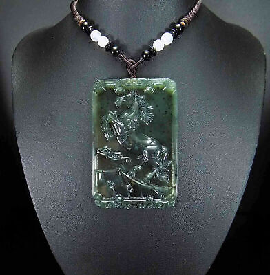 100% Natural Hand Carved Chinese Jade Jadeite Horse Pendant & Necklace