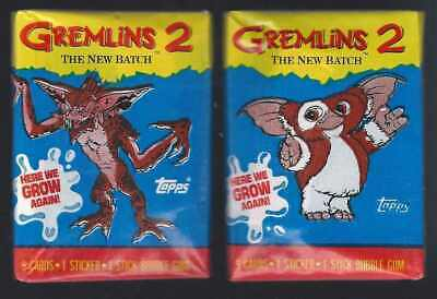 Set of 2 x Gremlins 2 Vintage Trading Card Wax Packs 1990 Topps