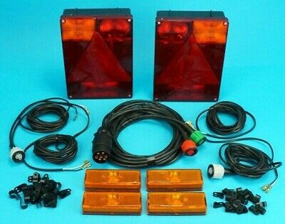 2 x Radex 6800 Pre-wired Trailer Lamps & 6 metre Harness & Markers Indespension