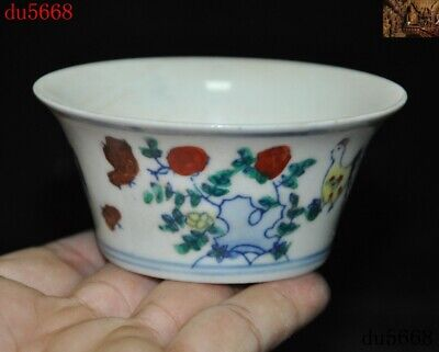 """90mm""""Marked China Wucai old porcelain carving chicken cock chick wine glass cup"""