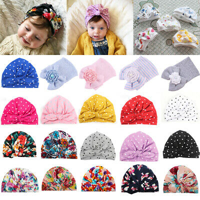 Newborn Toddler Baby Girl Boy Bow Knot Floral Turban Head Wrap Cap Beanie Hats
