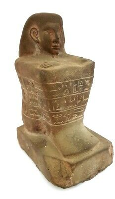 Ancient Egyptian Civilization Block Carved Sculpture Seated Hieroglyphic Statue