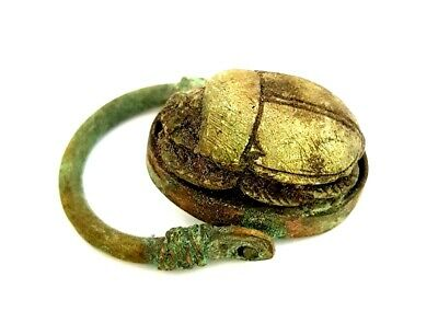 Rare Ring Egyptian Antique Scarab Beetle Amulet Ancient Royal Hieroglyph Faience