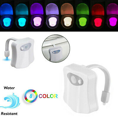 Motion Sensor Toilet Bowl LED Night Light Bathroom Seat Lamp Flexible 8 Color RD