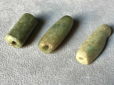 Precolumbian 3 big tubular beads carved green stone.