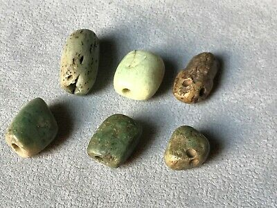 Precolumbian 6 beads carved green stone.