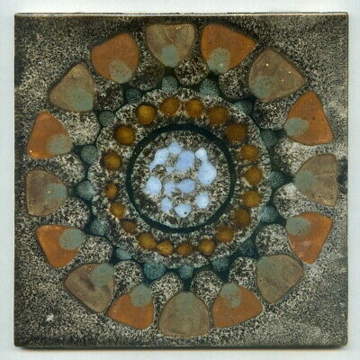 "Hand painted 6""sq tile by Clive & Margaret Simmonds for Intaglio Tiles, c1970"