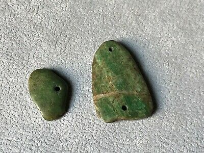 Precolumbian 2 beads carved top green stone.