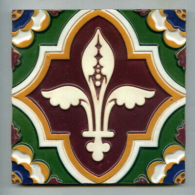 "Relief moulded majolica 6""sq tile by AWN Pugin for Minton Hollins, c1860"