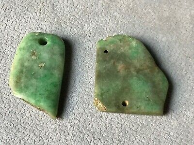 Precolumbian 2 bead carved top green stone.