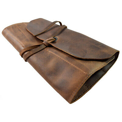 Vintage Brown Rustic Handmade Leather Small Tool Roll Spacious Leather Tool Bag