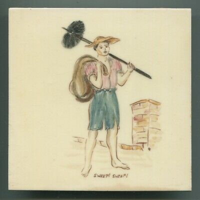 "Hand painted 6""sq tile from ""London Cries"" series by Packard & Ord, 1950"