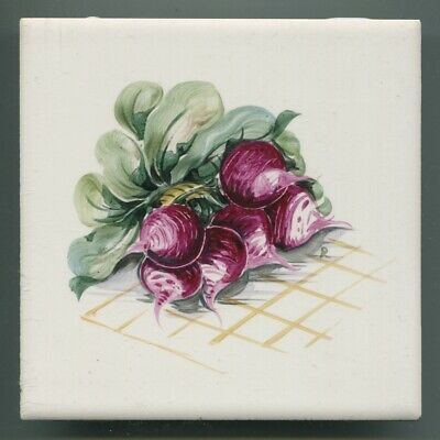 "Hand painted 6""sq tile from ""Vegetables"" series by Packard & Ord, 1966"