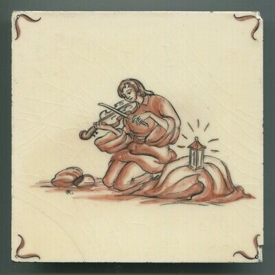 "Hand painted 6""sq tile from ""Czechoslovakia"" series by Packard & Ord, 1950 AF"