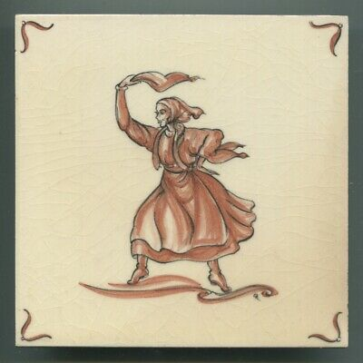 "Hand painted 6""sq tile from ""Czechoslovakia"" series by Packard & Ord, 1950"