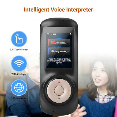 Smart Voice Simultaneous Translator Support WIFI + Hotspot Real Time Voice Black