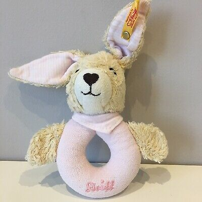 Steiff Pink Rabbit Rattle Ring Grip Plush Soft Baby Toy Bunny Comforter Gift