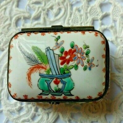 Antique French Porcelain Brass Hinged Patch Trinket Box - Hand Painted - Floral