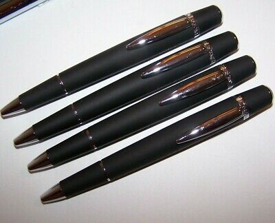 NEW 4 WATERFORD ARISTA Matte Black Soft Touch BALLPOINT PEN PENS