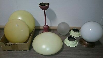 Art deco light shades x5 with matching metal ceiling galleries