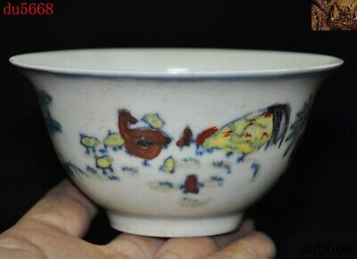 Marked China Chenghua Wucai porcelain carving chicken cock chick wine glass cup