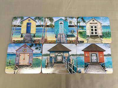 SARINA Set of 6 DRINK COASTERS  Boathouses