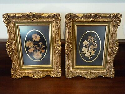 Antique Gilt Frames Ornate Velvet Trim Canvas Backed Dried Flowers VGC