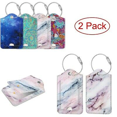 [2 Pack] Luggage Tags Name ID Labels with Privacy Cover For Travel Bag Suitcase