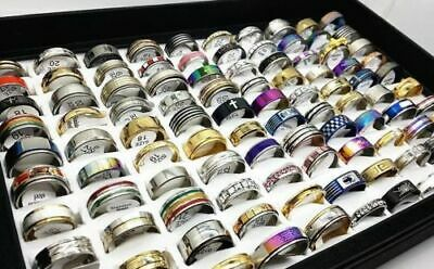 100 x wholesale joblot of women mens assorted rings includes display case