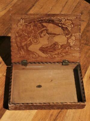 Art Nouveau Hand Crafted Wood Pyrographic Design Cigar-Cigarette Box-Pyrography
