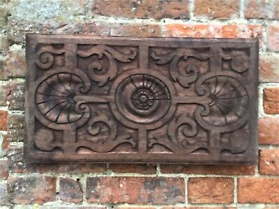 French Antique Hand Carved Red Hardwood Hanging Wall Plaque