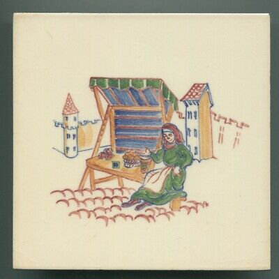 "Hand painted 6""sq tile from ""Medieval Crafts"" series by Packard & Ord, 1952"