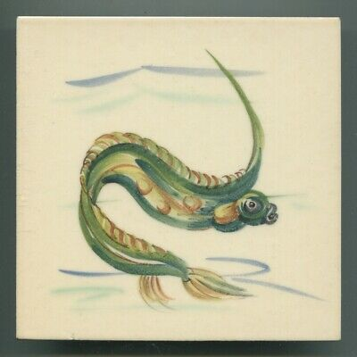 "Hand painted 6""sq tile from ""Deep Sea Fish"" series by Packard & Ord, 1951"