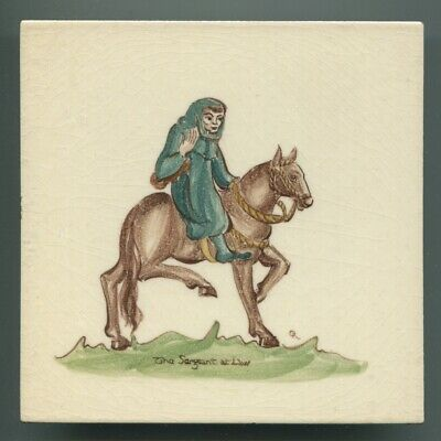 "Hand painted 6""sq tile from ""Canterbury Pilgrims"" series by Packard & Ord, 1951"