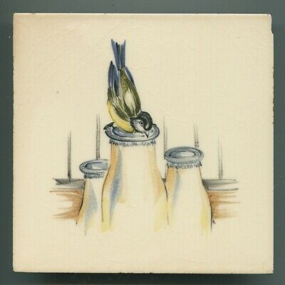 "Hand painted 6""sq tile from ""The Kitchen"" series by Packard & Ord, 1954"
