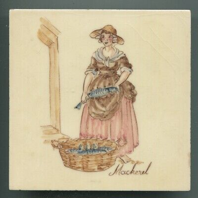 "Hand painted 6""sq tile from ""London Cries"" series by Packard & Ord, 1949"