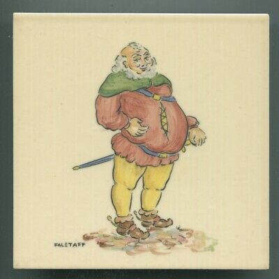 "Hand painted 6""sq tile from ""Shakespeare"" series by Packard & Ord, 1951"