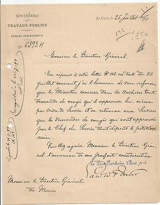 EGYPT ÄGYPTEN 1894 LETTER SIGNED by EGYPTOLIST ?? LOT 4