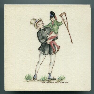 "Hand painted 6""sq tile from ""Dickens"" series by Packard & Ord, c1950"