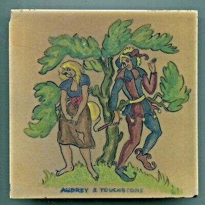 "Hand painted 6""sq tile from ""Shakespeare"" series by Packard & Ord, 1948"