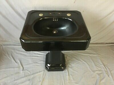 "Antique 24"" Deco Cast Iron Black Porcelain Bath Pedestal Sink Old Vtg  235-19E"