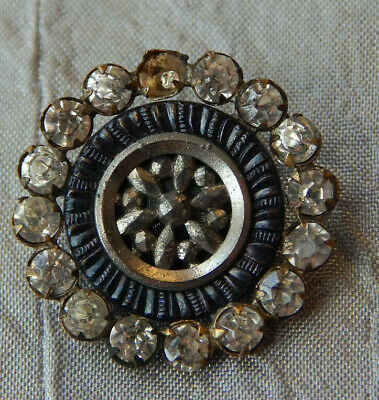 Antique Brass Button With Rhinestones Tinted Blue  #1428-A