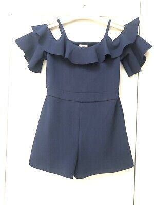 RIVER ISLAND Girls Navy Blue Cold Shoulder Playsuit 7/8 years